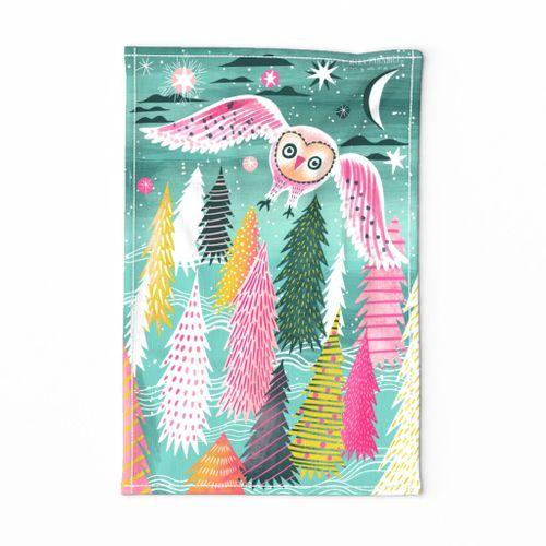 Spoonflower Tea Towel White Blue Yellow Birds Owl Owls Winter Linen Cotton