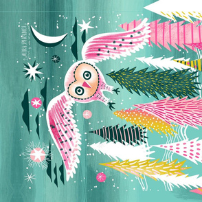 winter night flight owl // tea towel