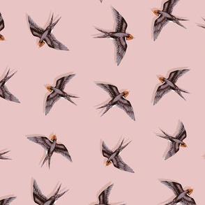 Swooping Swallows Dark Grey on Vintage Pink