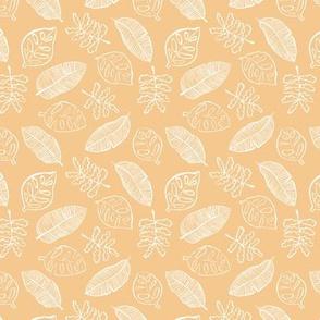 Tropical lush garden jungle leaves neutral island boho nursery design soft honey yellow SMALL
