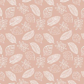 Tropical lush garden jungle leaves neutral island boho nursery design moody coral apricot SMALL