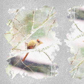 Female Cardinal in the snow watercolor style