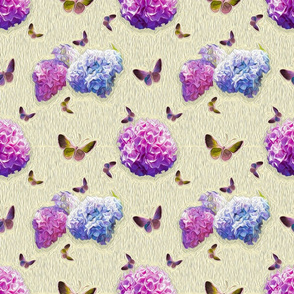 Butterflies and Hydrangea