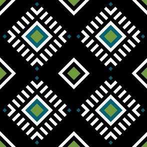 Black, green and blue tile