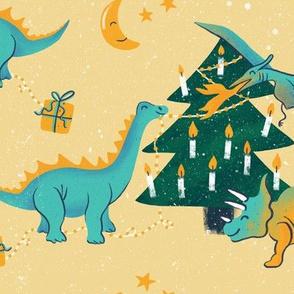 Dinos decorating christmas trees