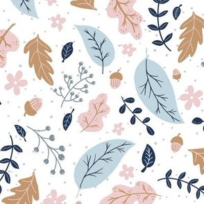 Autumn and Acorns - pinks and blues (large)
