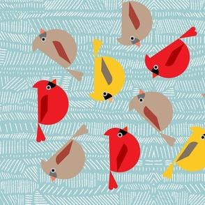Tea towel • Winter Cardinal Birds