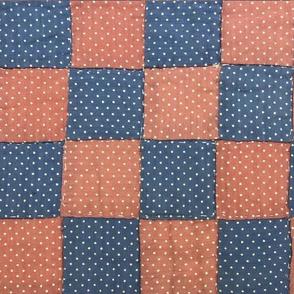 Grandma Martha's Blue and Peach Quilt