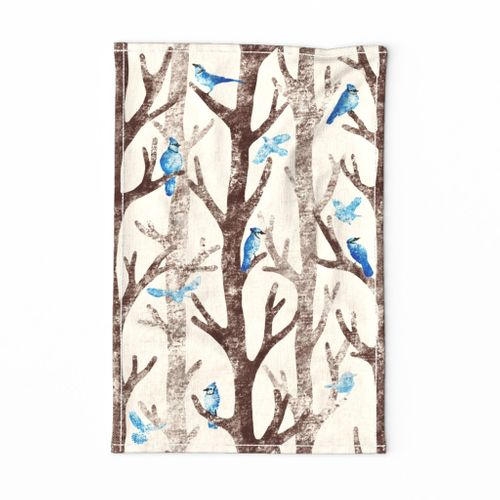 "Blue Jays Gathering - Please choose Linen Cotton Canvas or a fabric wider than 54""(137cm)"