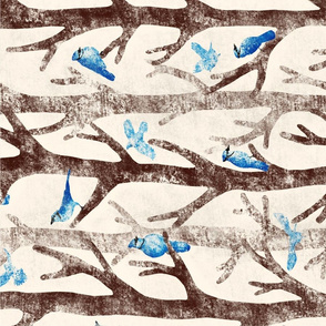 """Blue Jays Gathering - Please choose Linen Cotton Canvas or a fabric wider than 54""""(137cm)"""