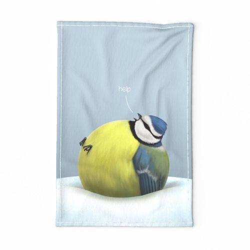 Overfed blue tit tea towel