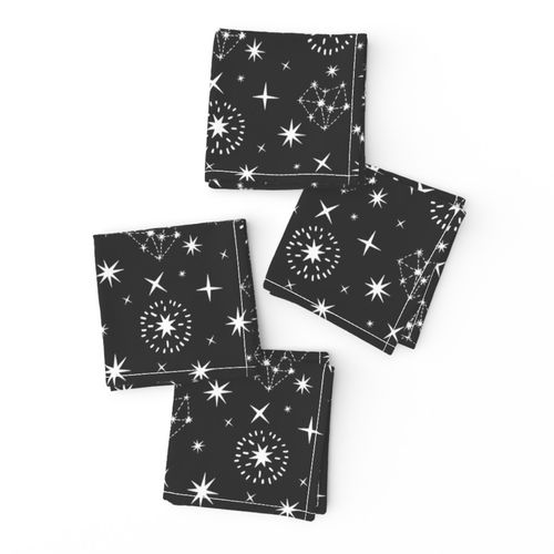 White Stars & Constellations in Black Sky Cocktail Napkins