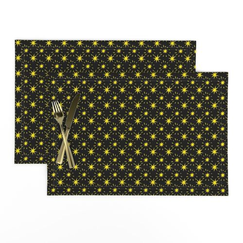 Golden Yellow Stars Pattern Black Background Placemats