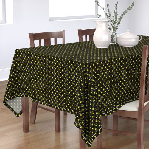 Golden Yellow Stars Pattern Black Background Rectangle Tablecloth