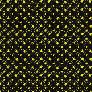 Golden Yellow Stars Pattern Black Background, SPSD