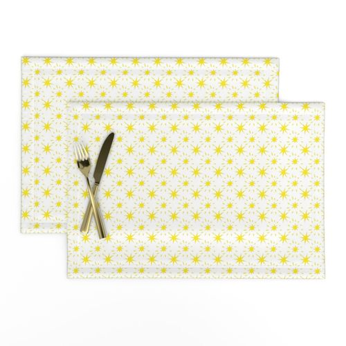Golden Yellow Stars Pattern White Backgroun Placemat,