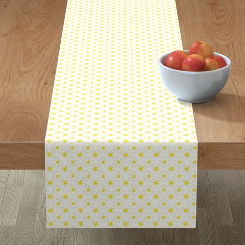 Golden Yellow Stars Pattern White Background Table Runner