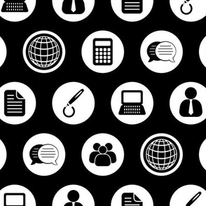 Business Icons Pattern in Black & White (Regular Scale)