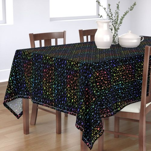 Rainbow Raindrops Black Background Rectangle Tablecloth