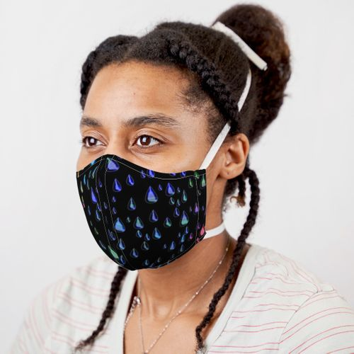 Rainbow Raindrops Black Background Face Mask