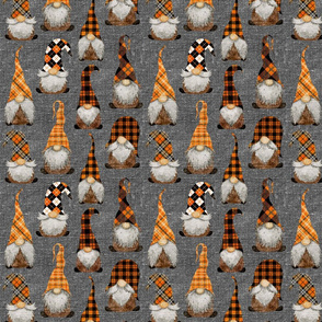 Fall Orange Plaid Gnomes on Grey Linen - small scale
