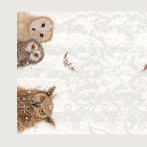 Owls in Winter tea towel