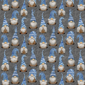 Blue Gnomes on Silver Grey Linen - small scale