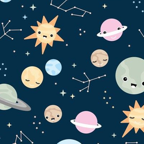 Little moon and stars kawaii space theme universe constellation and planets kids nursery design neutral navy multi color