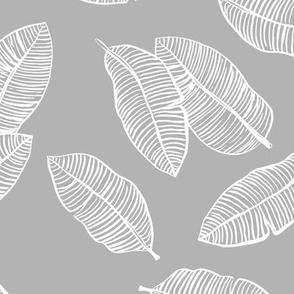 Jumbo banana leaves tropical botanical jungle garden boho nursery neutral soft gray white