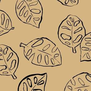 Messy Monstera leaf jungle tropical garden leaves boho nursery neutral kurkuma yellow beige