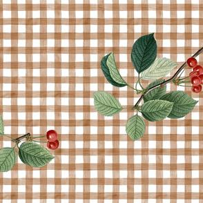 TEA TOWEL CHERRY TOSS (BROWN)