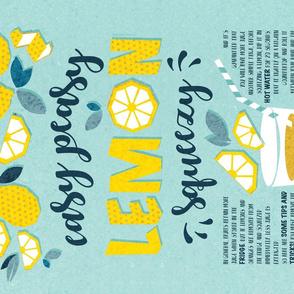 Easy peasy lemon squeezy tea towel // aqua background blue quote and tips