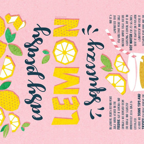 Easy peasy lemon squeezy tea towel // pink background blue quote and tips