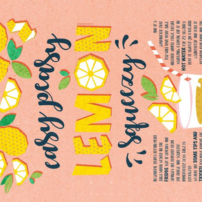 Easy peasy lemon squeezy tea towel // coral background blue quote and tips