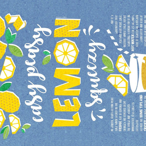 Easy peasy lemon squeezy tea towel // blue background white quote and tips