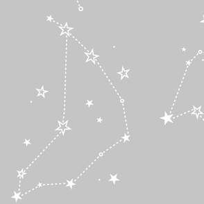 large - stars in the zodiac constellations in white on grey