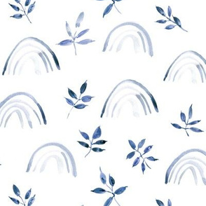 Indigo neutral rainbows and leaves for modern nursery kids baby - natural watercolor rainbow pattern - woodland magic 327