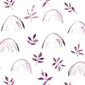 Plum neutral rainbows and leaves for modern nursery kids baby - natural watercolor rainbow pattern - woodland magic 327