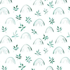 Emerald neutral rainbows and leaves for modern nursery kids baby - natural watercolor rainbow pattern - woodland magic p327