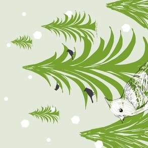 Winter Birds Tea Towel