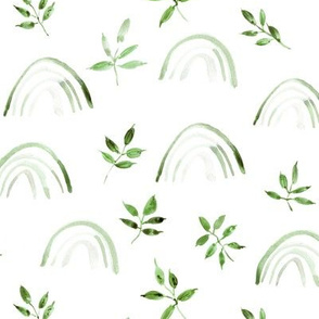 Jade green neutral rainbows and leaves for modern nursery kids baby - natural watercolor rainbow pattern - woodland magic