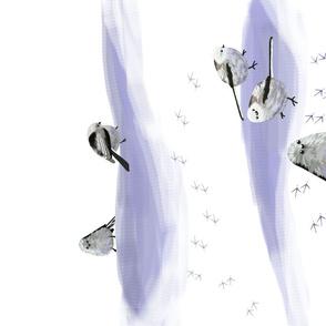 Snow Birds Lavender White tea towel