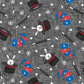 It's Magic - magic hat, bunny in hat, magic wand, cards - dark grey  - LAD20