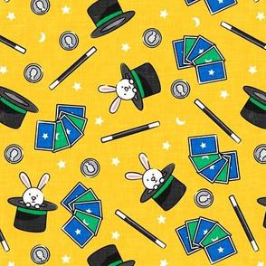 It's Magic - magic hat, bunny in hat, magic wand, cards - yellow  - LAD20
