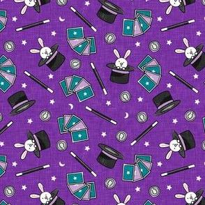 (small scale) It's Magic - magic hat, bunny in hat, magic wand, cards - purple  - LAD20