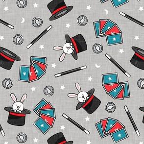 It's Magic - magic hat, bunny in hat, magic wand, cards - grey  - LAD20