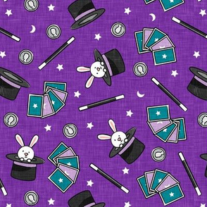 It's Magic - magic hat, bunny in hat, magic wand, cards - purple  - LAD20