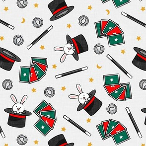 It's Magic - magic hat, bunny in hat, magic wand, cards - green and red  - LAD20