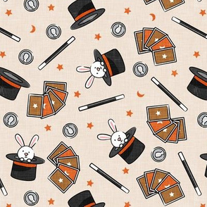 It's Magic - magic hat, bunny in hat, magic wand, cards - orange - LAD20