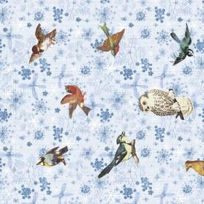 Snowy Winter Backyard Birds Linen Tea Towel